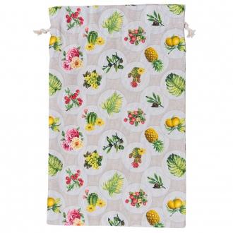 Bolsa de pan estampada frutas y flores