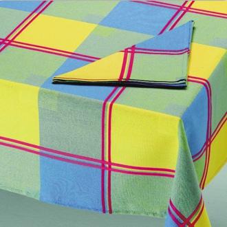 Manteleria cuadros verde, amarillo y azul