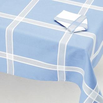 Manteleria cuadros blanco y azul