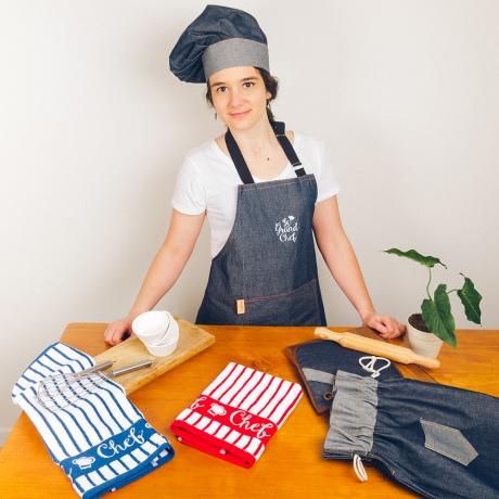 panos de cocina y delantal a juego